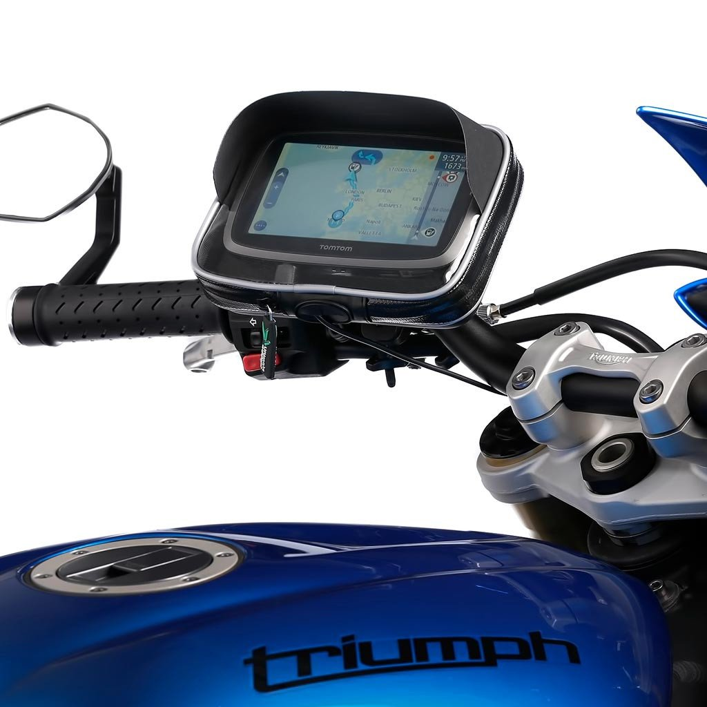 Ultimateaddons Motorcycle Quick Release Handlebar Mount + Water Resistant GPS Medium Case for Tomtom Go Via Start Series