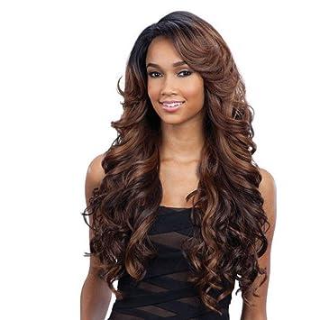 Amazon Com Freetress Equal Lace Deep Invisible L Part Lace Front Wig Karissa 1 Jet Black Beauty