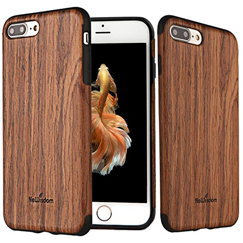 NeWisdom iPhone 8 7 Plus Wood Case, Slim Soft Rubberized Wood Cover [ Unique Wood Layer Over Rubber ] Case for Apple iPhone 8 7 Plus