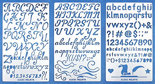 Aleks Melnyk 34 Bullet Journal Stencil Metal/Alphabet Letter Number, ABC/Stainless Steel Planner Set Stencils Journal/Notebook/Diary/Bujo/Scrapbooking/Crafting/DIY Drawing Template Stencil