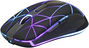 Rii RM200 Wireless Mouse,2.4G Wireless Mouse 5 Buttons Rechargeable Mobile Optical Mouse with USB Nano Receiver,3 Adjustable DPI Levels,Colorful LED Lights for Notebook,PC,Computer-Black