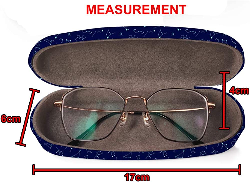 Hard Shell Glasses Protective Case Box Fits most Eyeglasses and Sunglasses Cleaning Cloth Constellations Zodiac