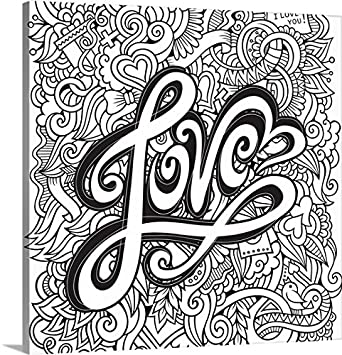 olga kostenko coloring canvas wall art print entitled love colorable