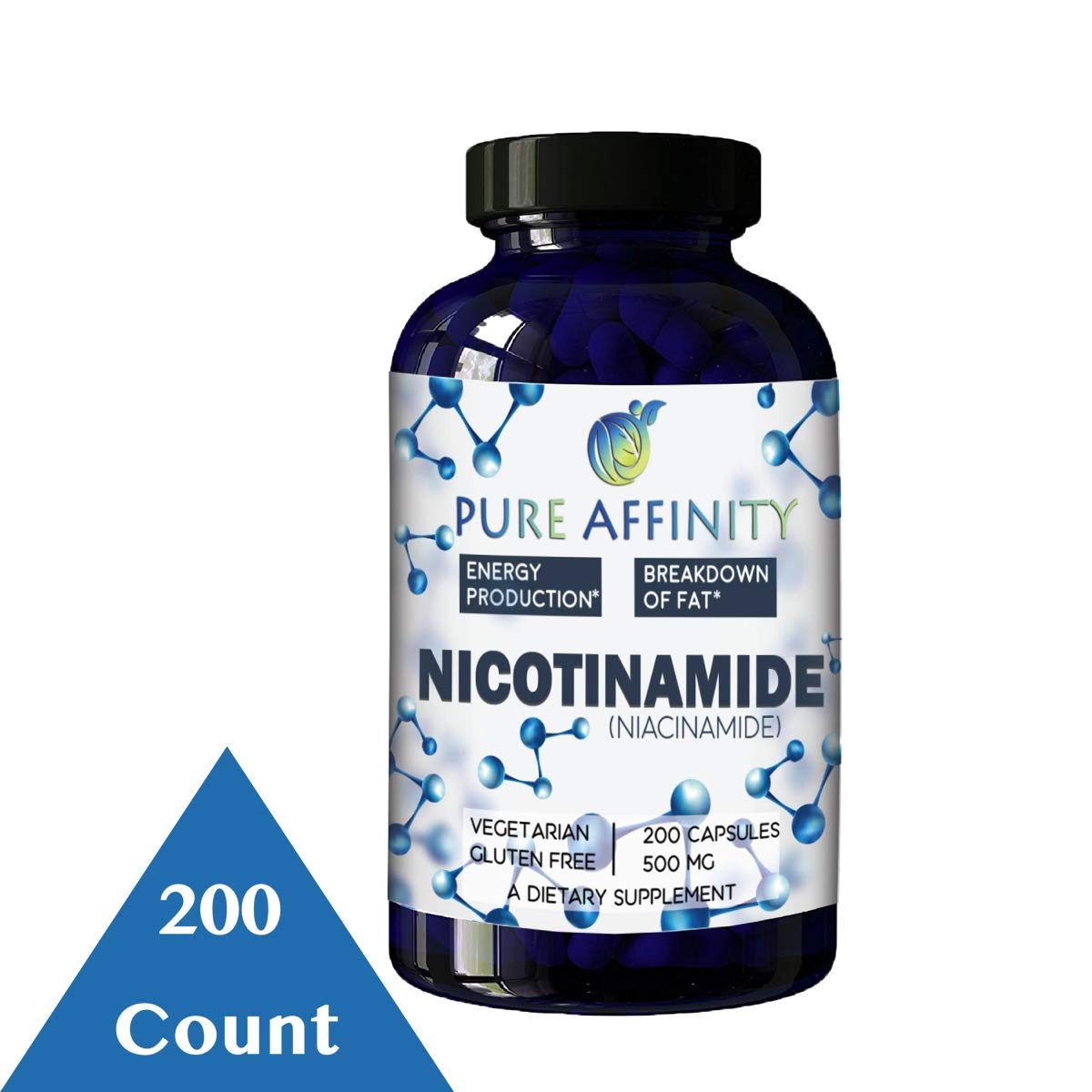 200 Count! B3 Nicotinamide 500 mg Effective Flush-Free Niacin. Energy Booster, Cell Regenerator, Supports Cognitive Decline, Anti-Aging and Helps Breaks Down Carbs & Fats (200 Ct) by Pure Affinity LLC