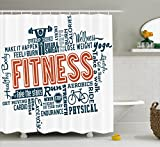 Ambesonne Fitness Shower Curtain, Fitness Related Words with Retro Style Typography Active Lifestyle, Fabric Bathroom Decor Set with Hooks, 75 Inches Long, Orange Dark Blue White