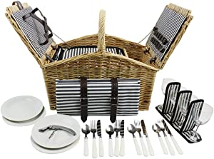 Willow Picnic Basket Set for 4 Persons with Double Lids, Durable Handle and Insulated Cooler Compartment, Handmade Wicker Hamper for Outdoor Living Camping