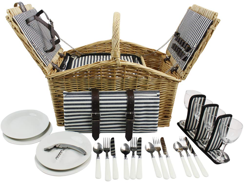 HappyPicnic 'Huntsman' Willow Picnic Hamper for 4 Persons with Double Lids and 'Built-in' Insulated Cooler, Natural Wicker Picnic Basket with Navy Canvas Stripe Lining, Willow Picnic Set(Navy Stripe) by HappyPicnic