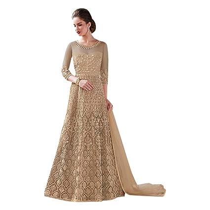 60a77a8f71 Amazon.com: Golden Bridal Long Anarkali Gown Muslim Wedding Salwar Kameez  Dress Pakistani Indian Winter 7295: Home Improvement