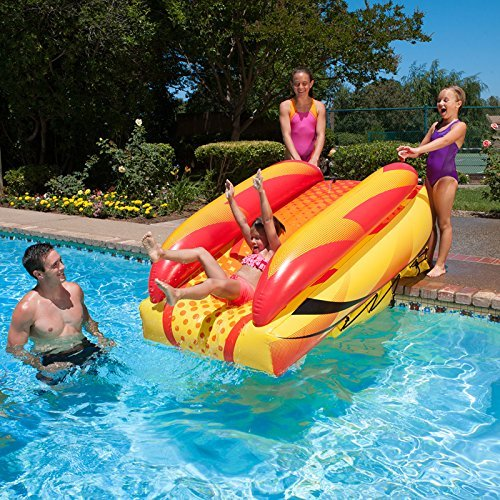 92 Orange, Yellow and Black Aqua Fun Inflatable Aqua Launch Swimming Pool Slide by Swim Central