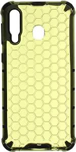 جراب خلفي قوي بحواف سيليكون على شكل خلية النحل لسامسونج جالكسي M30 - اخضر ليموني اسود