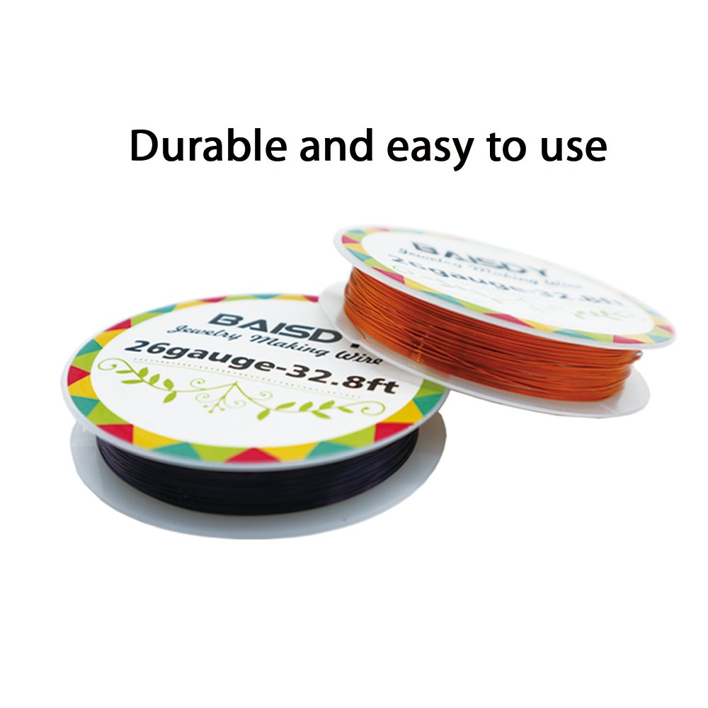BAISDY 10Pcs Craft Wires 26 Gauge 10 Various Colors, Copper Wrapping Wire for Jewelry Making Beading Supplies