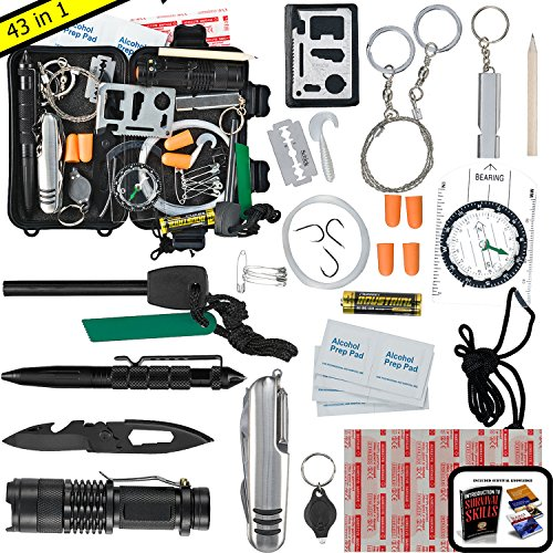 Emergency Survival Kit UPGRADED #1 BEST 43 in 1 Tools Outdoor Gear For Camping EDC Hiking Disaster Preparedness With First Aid Supplies Your Tactical Off Grid Bug Out Bag Tool Box (Black, Large)