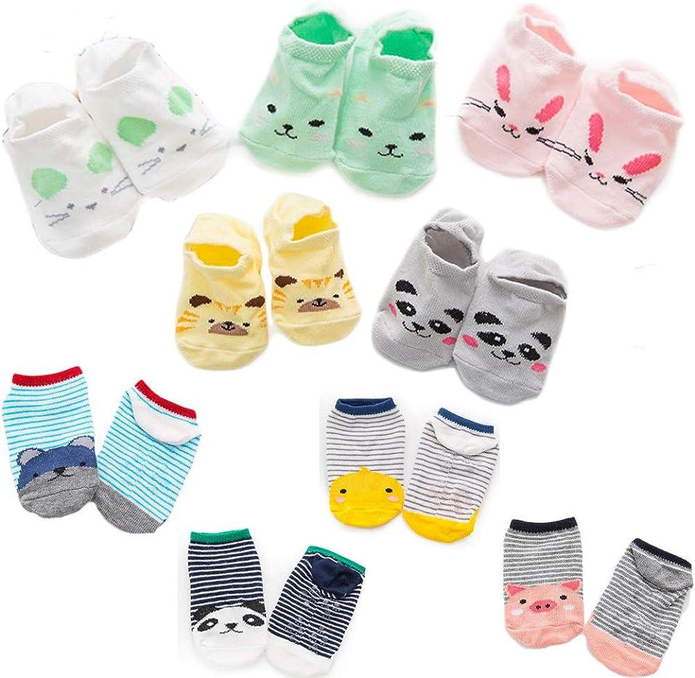 DEYOU Baby Socks,9 Pairs//Set,Animal Printing Cartoon Toddler Sock With Grips Anti-slip Baby Socks For Baby Girls Boys