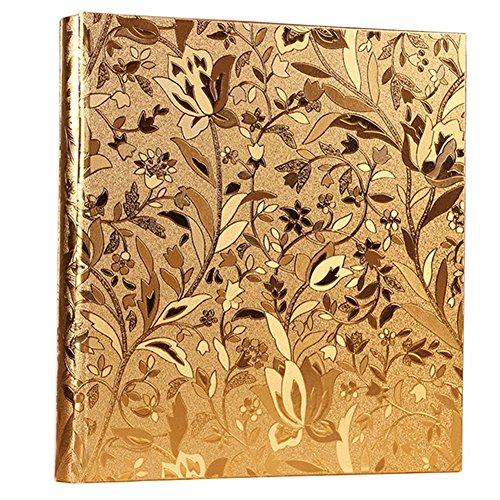 Nizzco Leather Frame Cover Photo Album 600 Pockets Hold 4x6 Photos(Gold)