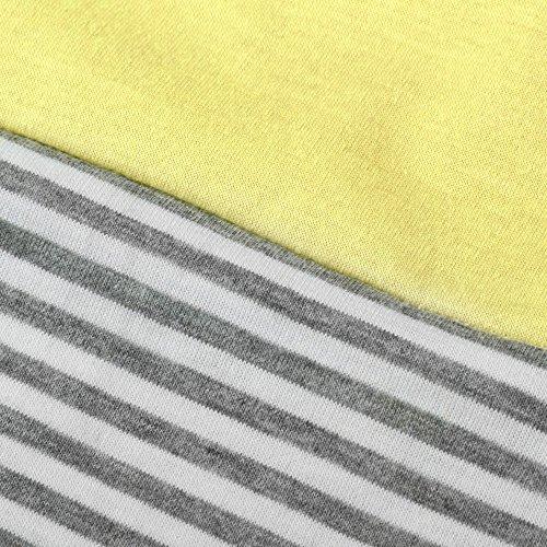 Primavera Donna Sciolto Stampa Tops Maglietta Donne Camicie Casual Maglietta Giallo maglieriat Girocollo Blusa Camicetta Estate Shirt Elegante T Giuntura Manica Cime Shirt Corta Weant Striscia pT8IHxI