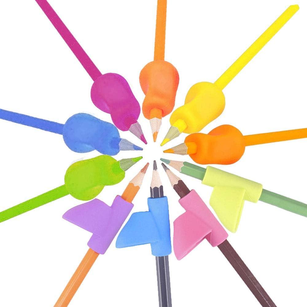 10 St/ück Bleistift Griffe f/ür Vorschulalter Kinder Stift Schreibhilfe Grip Haltungskorrektur Ausbildung Erwachsene Besondere Bedarf Bleistifthalter