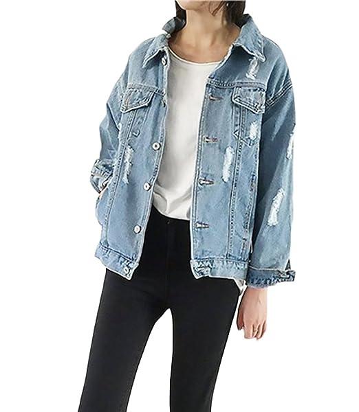 Mujer Chaquetas Jeans Azul Fiesta Boyfriend Suelto Chaqueta Vaqueras Agujeros Primavera Otoño Stand Cuello Jacket Coat Outcoat Elegante Moda New Look Denim ...