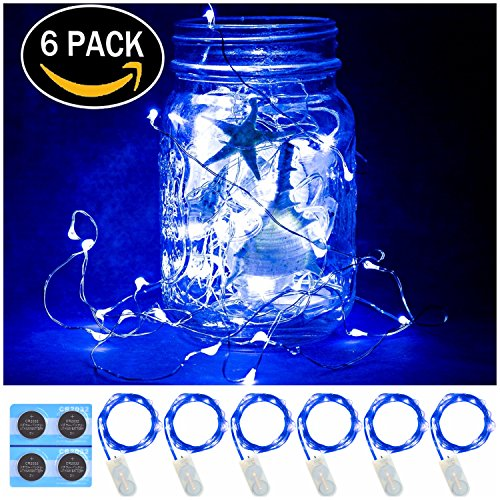6 Pack,7Feet 20 LED Starry String Lights,Fairy String Lights Silve Wire,2pcs CR2032 Batteries Included, Firefly Lights LED Moon Lights for DIY Dinner Party,Table Decoration,Wedding Centerpiece. (Blue) -