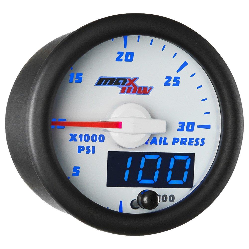 MaxTow Double Vision 30, 000 PSI Fuel Rail Pressure Gauge - for 2002-2017 6.6L Chevy Duramax & 2003-2017 5.9L / 6.7L Dodge Cummins Diesel Trucks - White Gauge Face - Blue LED Dial - 2-1/16 52mm MT-WBDV19