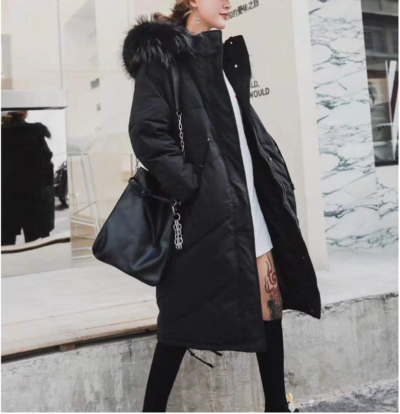 HSDFKD Cotton coat Women Winter Coat Large fur collar mid-length loose casual plus size Padded Thick Warm Jacket Windproof Insulated