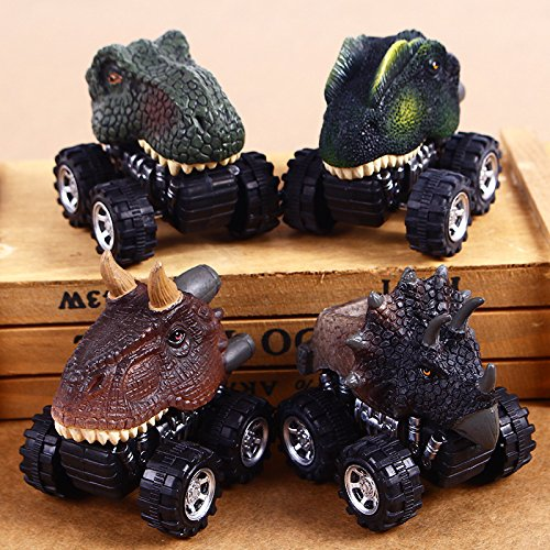 4 Pcs T Rex Dinosaur Pull-back Car Toy Dino Dragon Head Vehicle Mini Monster Car Cool Kids (All Dinos)