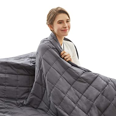 Weighted Idea Cooling Weighted Blanket 15 lbs Adults | 60''x80 Cotton | Grey | Gift for Loved One