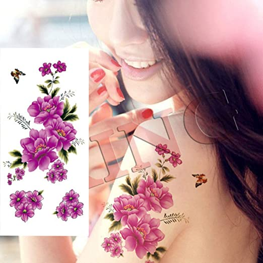 tzxdbh 3 Piezas Impermeable Tatuaje Etiqueta romántica Negro Rosa ...