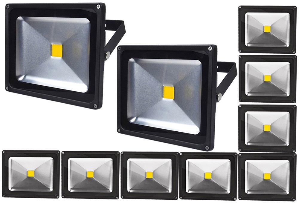 ALPHA DIMA 10pcs Faro LED Esterno 30W,3000K Bianco Caldo a LED,Impermeabile IP65 Proiettore LED per Giardino,AC 85-265V