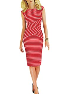 Viwenni Women s Summer Striped Sleeveless Wear to Work Casual Party Pencil  Dress 77a43dbb2