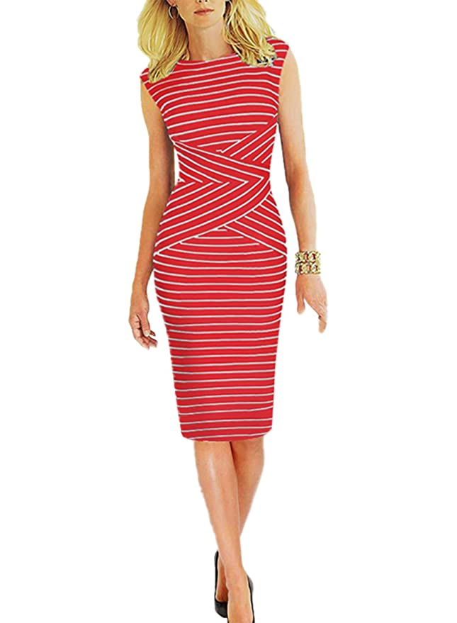 8f854a1552fc3 Viwenni Women's Summer Striped Sleeveless Wear to Work Casual Party Pencil  Dress Red at Amazon Women's Clothing store: