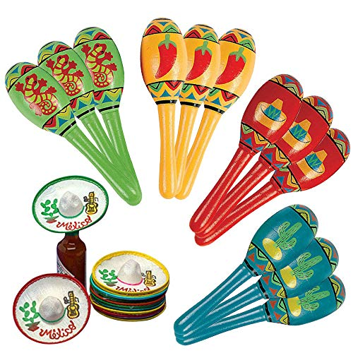 Fiesta Party Supplies-12 Mini Sombreros and 12 Mini Maracas for Fiesta Bunco Party]()