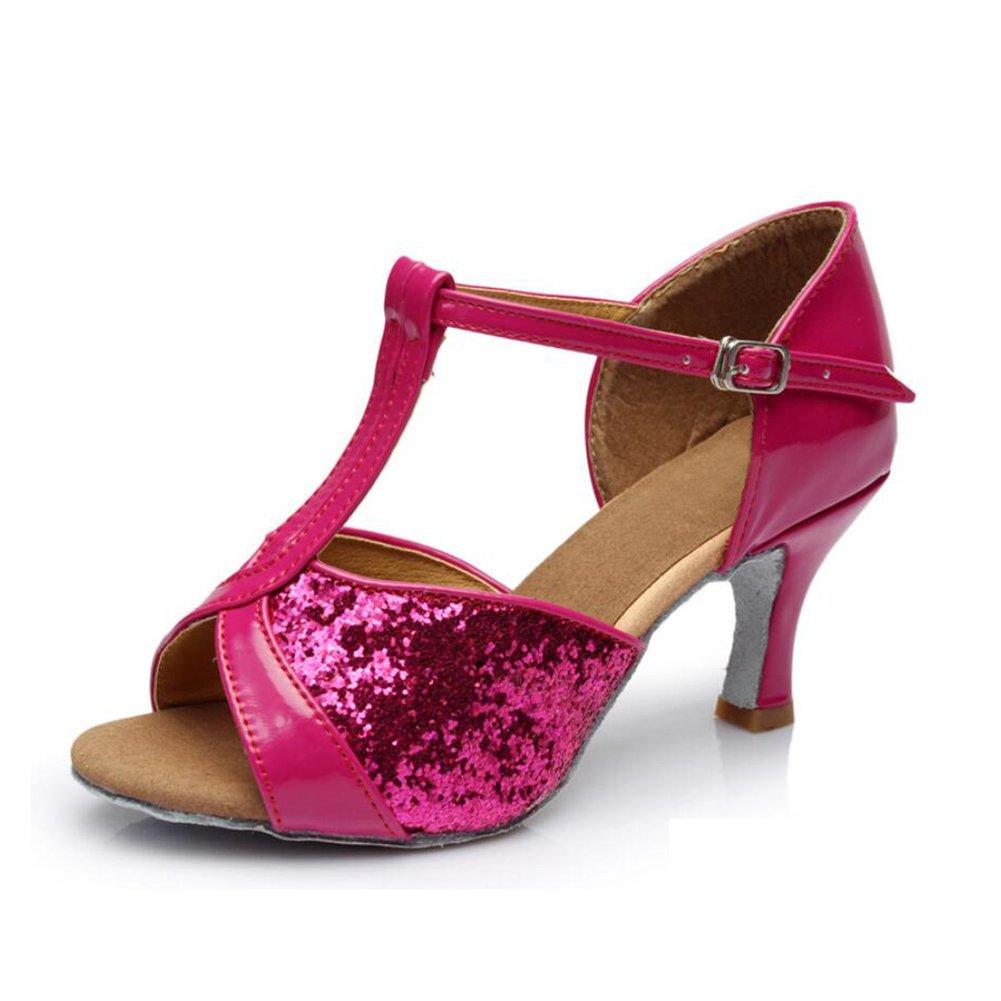 Onfly New Damen Latein Schuhe/Ballroom Schuhe Satin Sandale Indoor Schnalle Ferse Tanzschuhe Braun/Gold/Fuchsia Party  Abend eu size  D