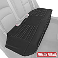 Motor Trend MTSC-421 Black Universal Car Seat Cushion (Bench) – Padded Luxury Cover with Non-Slip Bottom & Storage Pockets Faux Leather Rear Chair Protector for Auto, Truck & SUV
