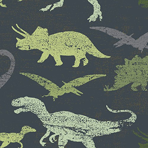 Tempaper Dinosaurs Kids Peel and Stick Borders + Stripes, Navy/green Multi