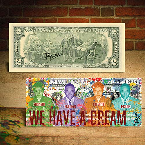 (ROSA PARKS/MLK JR - WE HAVE A DREAM Mug Shots $2 Bill HAND-SIGNED by Rency )