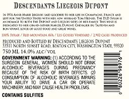2012 Descendants Liegeois Dupont Red Mountain Syrah 750ml
