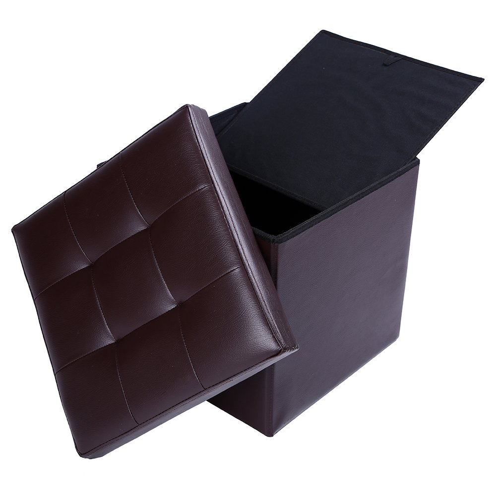 15'' Storage Ottoman Folding Stool,Collapsible Cube Faux Leather Coffee Table,Foot Rest Seat,Clutter Toys Collection Brown by epeanhome (Image #6)