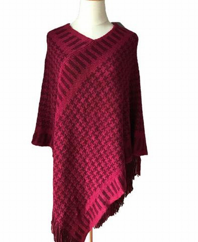 Autumn and Winter Sweater Shawl Warp Knot Suitcase Cloak Knit Shawl Lady,Red
