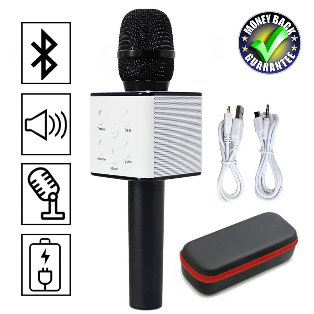 Magisches Karaoke Drahtloses Mikrofon Mit Bluetooth Lautsprecher Unterstützung iOS Apple iPhone iPad Android Smartphone PC Für Home Entertainment Party Bühne KTV Singen (858 Gold) JDSenYe