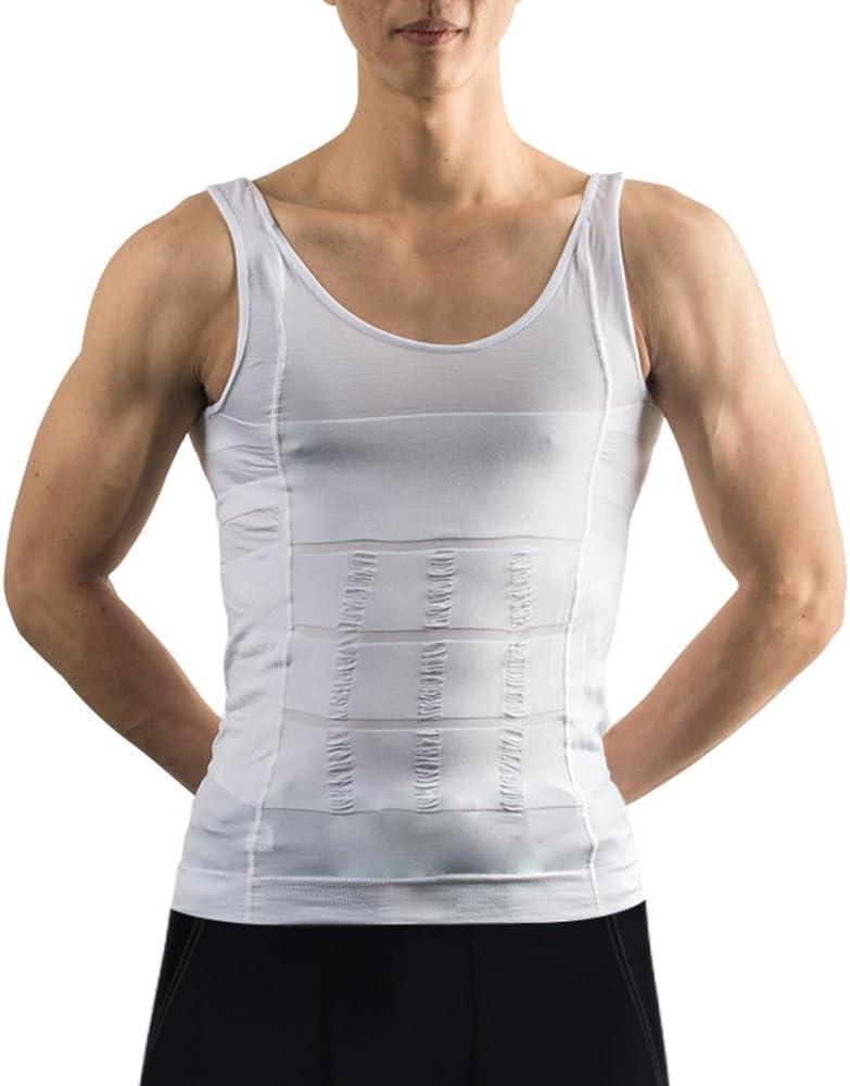Image Camiseta sin Mangas de Compresión, Body Shaper para Hombres, Camiseta de Entrenamiento para Hombres, Camisa de Compresión Muscular Gym, Chaleco Blanco para Hombres