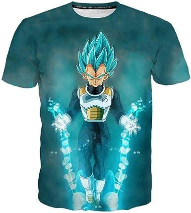 Camisetas,Camiseta 3D Dragon Ball Z Camiseta de Manga Corta para Hombre Super Saiyan Goku Camiseta de Manga Corta Tipo Guerrero S Verde: Amazon.es: Ropa y accesorios