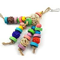 Sanwooden Funny Parrot Bite Toy Colorful Hanging Ornaments Sepak Takraw Parrots Bite Toy Bird Chew Tools Pet Supplies