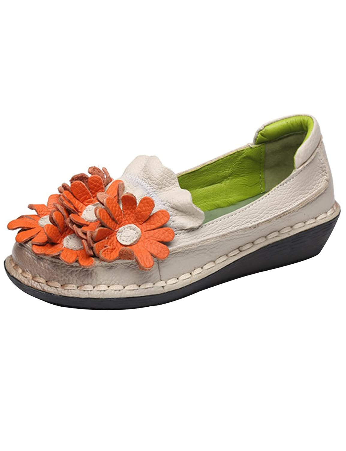 Zoulee Women's Handmade Leather Flowers Flat Shoes Cowhide Pregnant Shoes