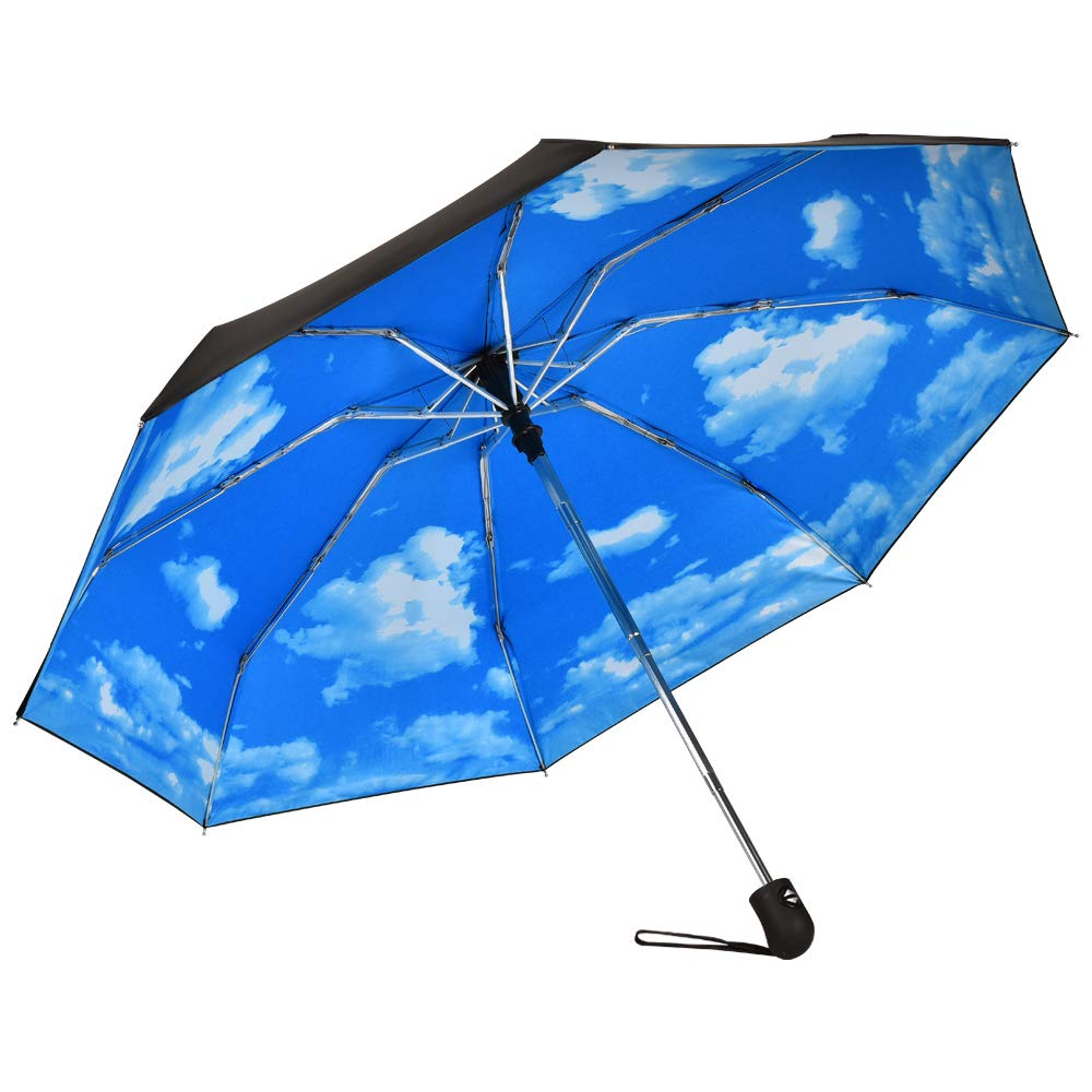 Travel Mini Umbrella Windproof Automatic Umbrellas Auto Open Close Lightweight Portable Sun&Rain Floding Compact Umbrella for Women Men Kids(Blue Sky)