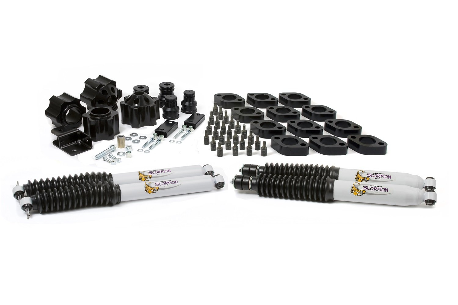 fits 2007 to 2017 2//4WD Daystar 3 suspension /& 1 body track bar bracket and front and rear shocks with bump stop extensions Jeep JK Wrangler 4 Lift Kit Made in America fits automatic transmission only KJ09156BK