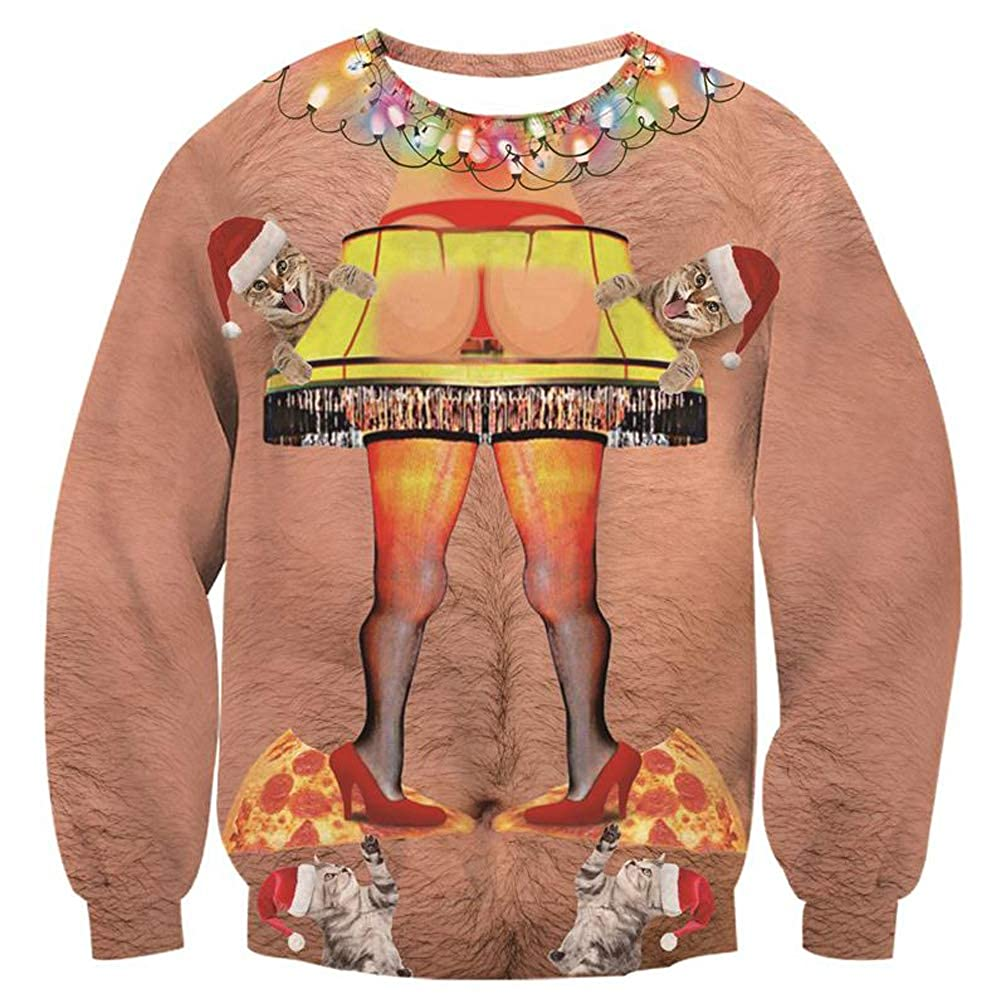 ed8f3d73 Amazon.com: AIDEAONE Unisex Ugly Christmas Sweatshirts 3D Printed Pullover  Long Sleeve Shirts: Clothing