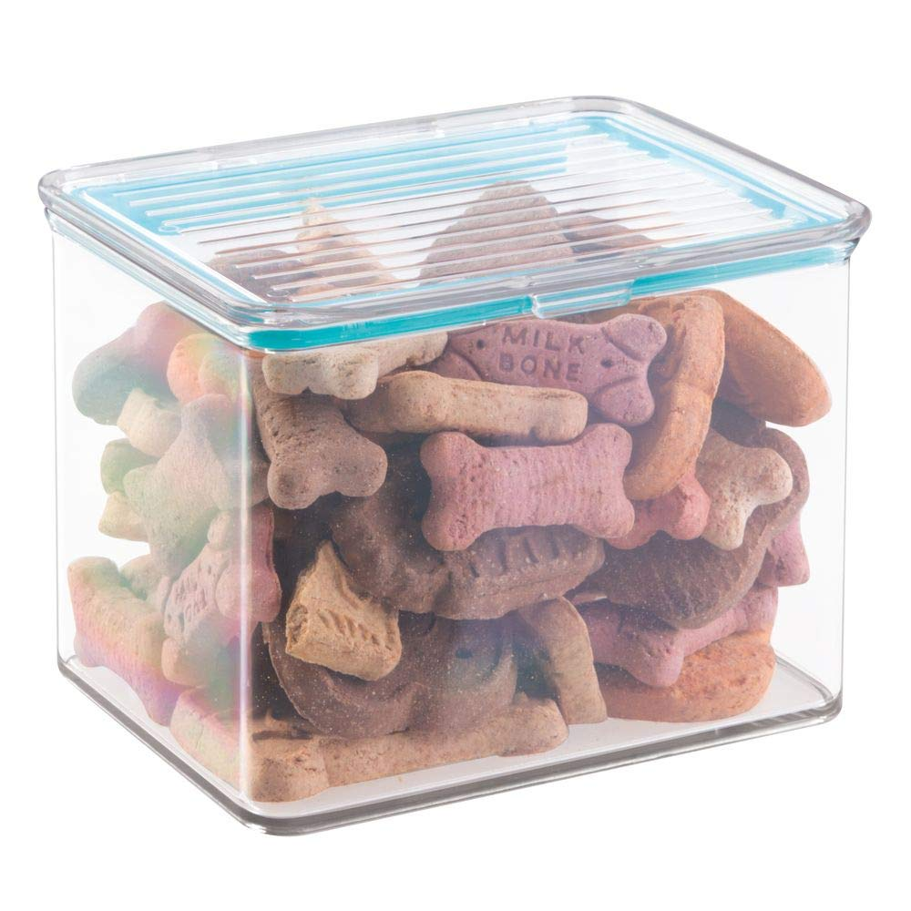 2 Quart Tub mDesign Pet Storage Container Box with Sealed Lid for Dog Food, Treats, Supplies 2 Quarts, Clear