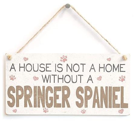 Hunnry Springer Spaniel with Home Letrero de Placa de Madera ...