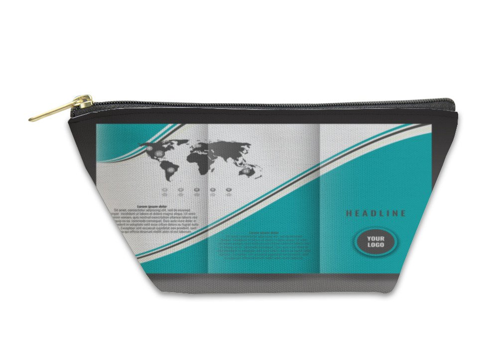 Gear New Accessory Zipper Pouch, Business Trifold Brochure Template Design Wavy Lines And World Map Infographic, Large, 5811313GN
