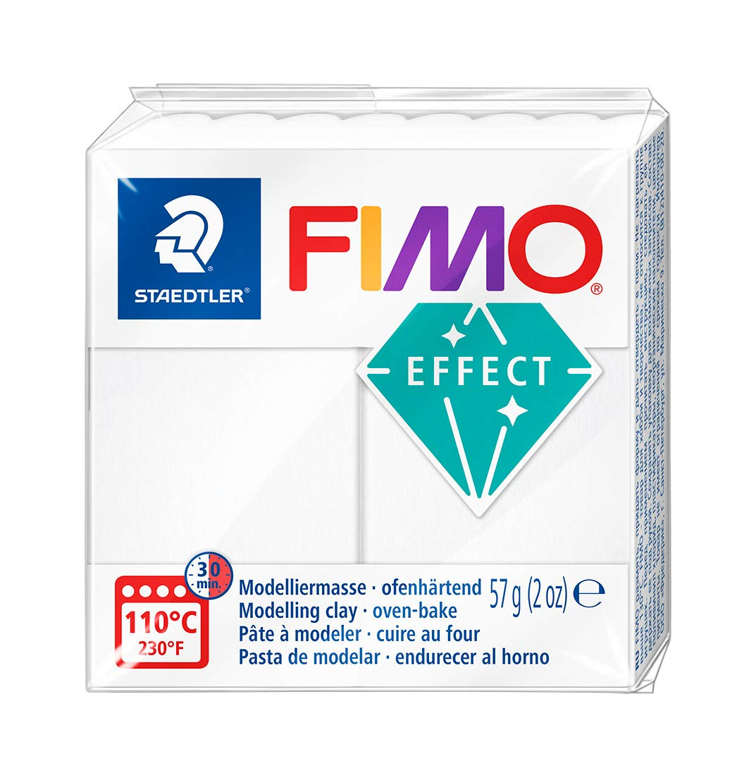 Staedtler FIMO Effects Polymer Clay - -Oven Bake Clay for Jewelry, Sculpting, Translucent White 8020-014